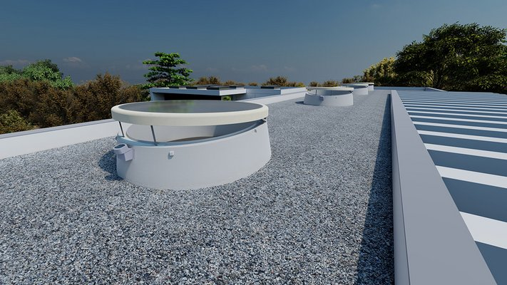 LAMILUX Glass Skylight F100 Circular with 5 degree inclined upstand on a flat roof with gravel